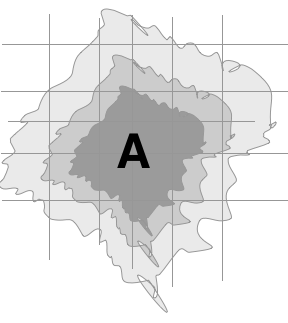 schematic example of an access isochrone