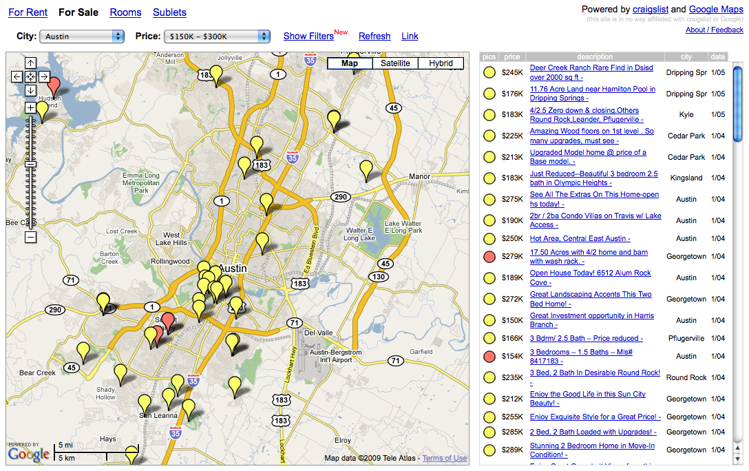 screenshot of old housingmaps.com