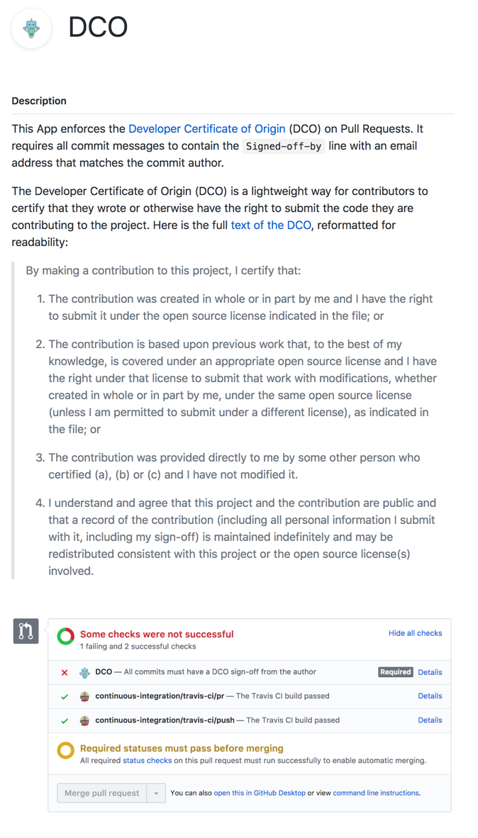screenshot: the Developer Certificate of Origin is enforced using this GitHub app