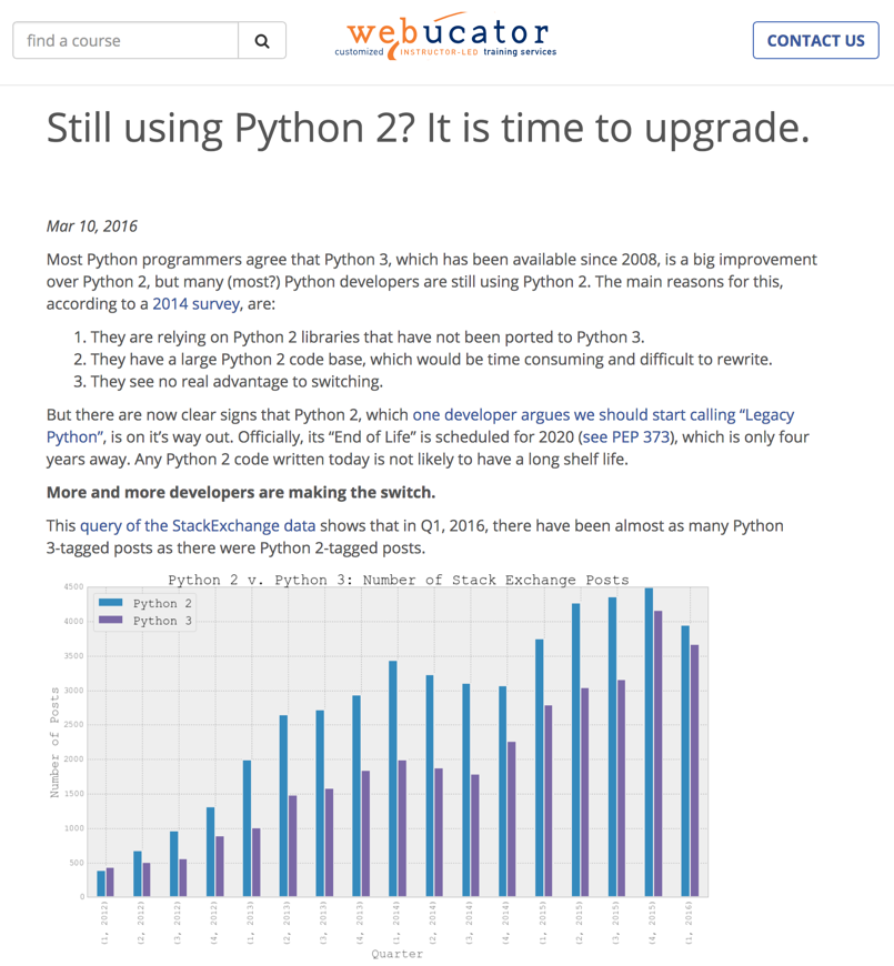 screenshot of a report on Python 2 and Python 3 usage levels over time