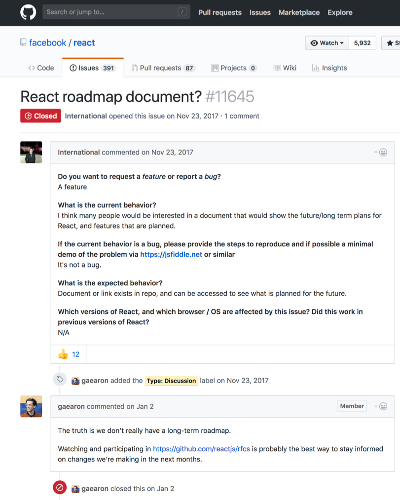 screenshot of a ReactJS issue thread discussing the lack of a project roadmap