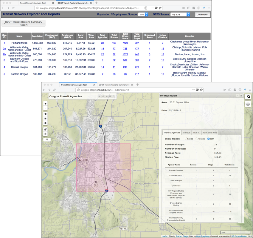 screenshots of the TNExT tool displaying maps and reports